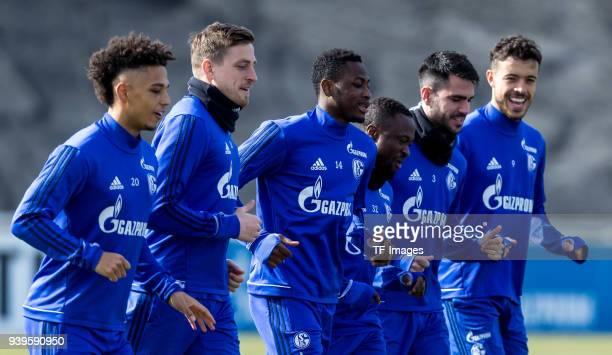 Thilo Kehrer of Schalke Bastian Oczipka of Schalke Abdul Rahman Baba of Schalke Bernard Tekpetey of Schalke Pablo Insua of Schalke and Franco Matias...
