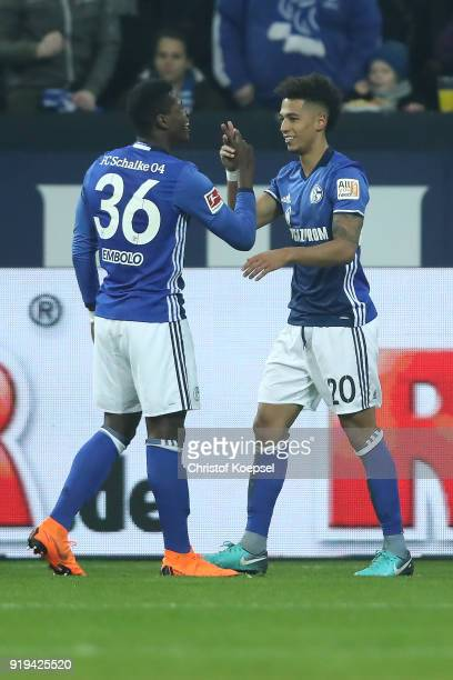 Thilo Kehrer of Schalke celebrates with Breel Embolo of Schalke after he scored a goal to make it 10 during the Bundesliga match between FC Schalke...