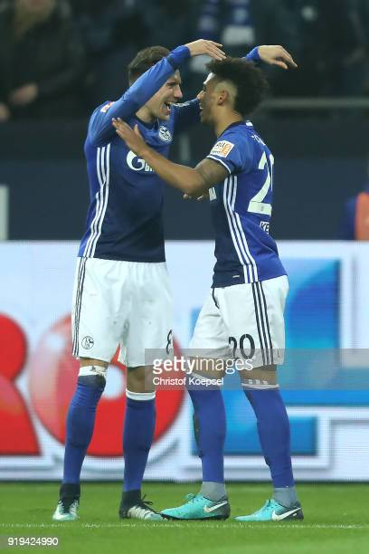 Thilo Kehrer of Schalke celebrates with Leon Goretzka of Schalke after he scored a goal to make it 10 during the Bundesliga match between FC Schalke...