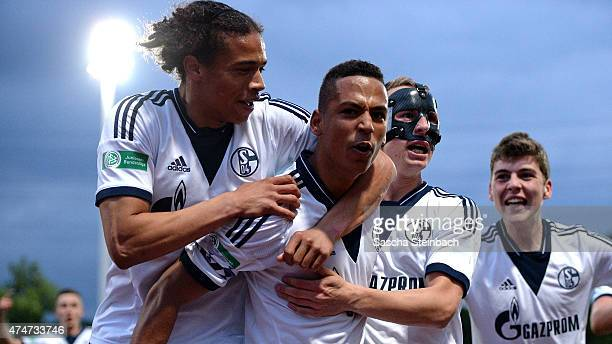 Thilo Kehrer of Schalke celebrates with team mates after scoring his team's second goal during the U19 A-Juniors Bundesliga Final between FC Schalke...