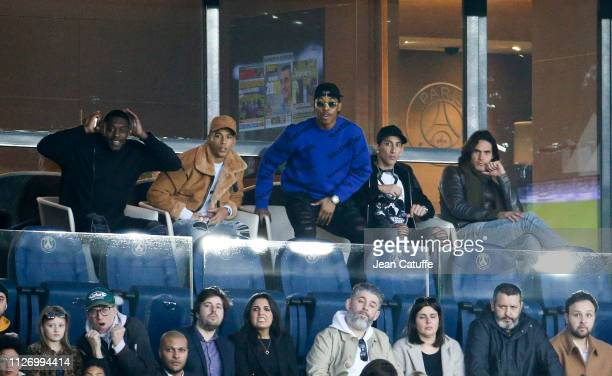 Thilo Kehrer Presnel Kimpembe Angel Di Maria Edinson Cavani of PSG attend the French Ligue 1 match between Paris SaintGermain and Nimes Olympique at...