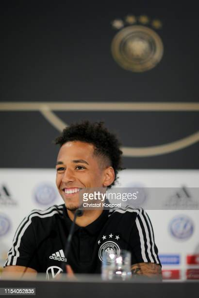 Thilo Kehrer speaks to the media during a press conference ahead of their UEFA European Championship Qualifier match against Belarus at Stadion de...