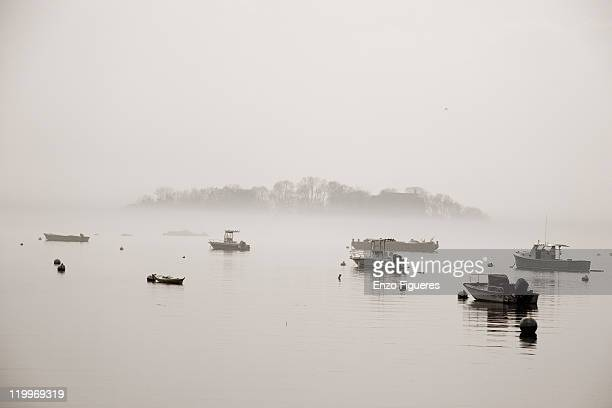 thimble islands on foggy day - thimble stock photos and pictures