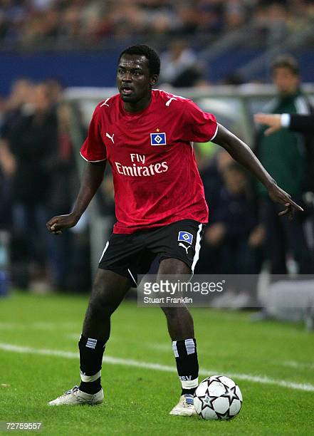 Thimothee Atouba of Hamburg in action during the UEFA Champions League Group G match between Hamburger SV and CSKA Moscow at the AOL Arena on...