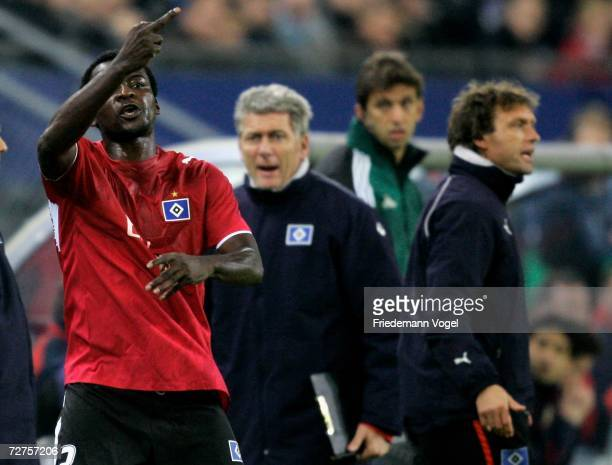 Thimothee Atouba of Hamburg reacts after exchange during the UEFA Champions League Group G match between Hamburger SV and CSKA Moscow at the AOL...