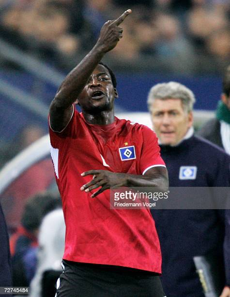 Thimothee Atouba of Hamburg reacts during the UEFA Champions League Group G match between Hamburger SV and CSKA Moscow at the AOL Arena on December...