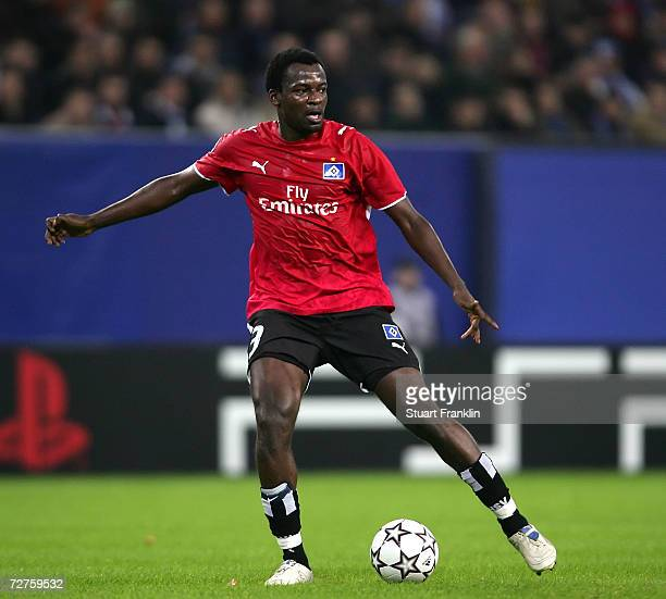 Thimothee Atouba of Hamburger SV in action during the UEFA Champions League Group G match between Hamburger SV and CSKA Moscow at the AOL Arena on...