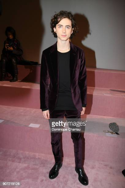 Thimothee Chalamet attends the Berluti Menswear Fall/Winter 20182019 show as part of Paris Fashion Week on January 19 2018 in Paris France