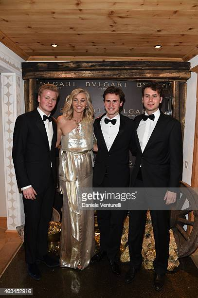 Thimoty Velo Ester Velo van Hulst Chistofer Velo and Jonathan Velo attend Bulgari High Jewelry Event St Moritz on February 14 2015 in St Moritz...