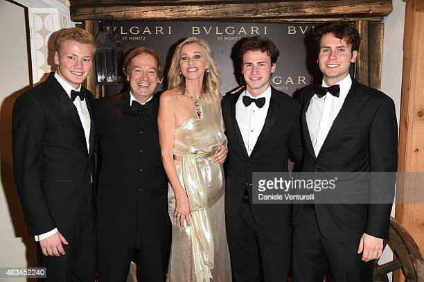 Thimoty Velo Lucio Velo Ester Velo van Hulst Chistofer Velo and Jonathan Velo attend Bulgari High Jewelry Event St Moritz on February 14 2015 in St...