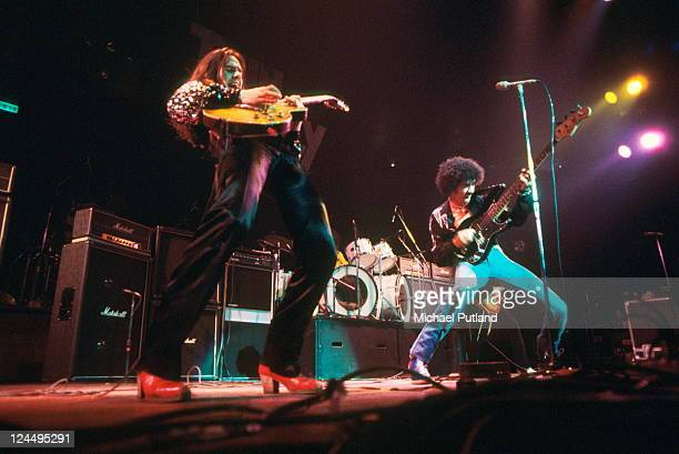 Thin Lizzy perform on stage US Tour February 1977 Gary Moore Phil Lynott