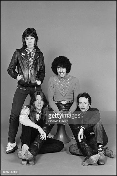 Thin Lizzy photographed in a studio in Paris during the recording of their album 'Black Rose' 1979 Clockwise from top left Gary Moore Phil Lynott...