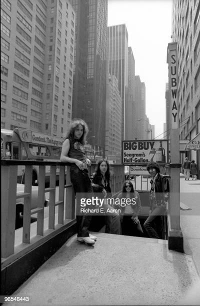 Thin Lizzy posed in New York City street in 1977 LR Brian Robertson Brian Downey Scott Gorham Phil Lynott