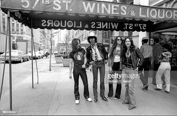Thin Lizzy posed in New York City street in 1977 LR Brian Robertson Phil Lynott Scott Gorham Brian Downey