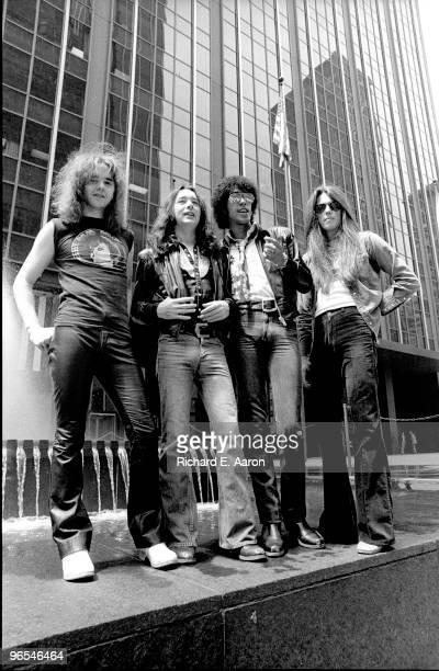 Thin Lizzy posed in New York City street in 1977 LR Brian Robertson Brian Downey Phil Lynott Scott Gorham