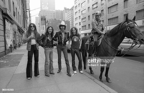 Thin Lizzy posed in New York City street in 1977 LR Scott Gorham Brian Downey Phil Lynott Brian Robertson