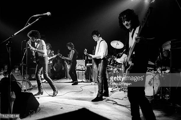 Thin Lizzy / The Greedies live in Camden, 1977. They are Phil Lynott, Gary Moore, Chris Spedding, Steve Jones and Jimmy Bain.