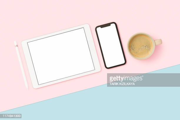 things on my desk flat lay - two tone color stock pictures, royalty-free photos & images