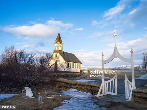 Thingvellir National Park in Iceland during winter Thingvellir is listed as UNESCO world heritage site The church of Thingvellir Europe northern...