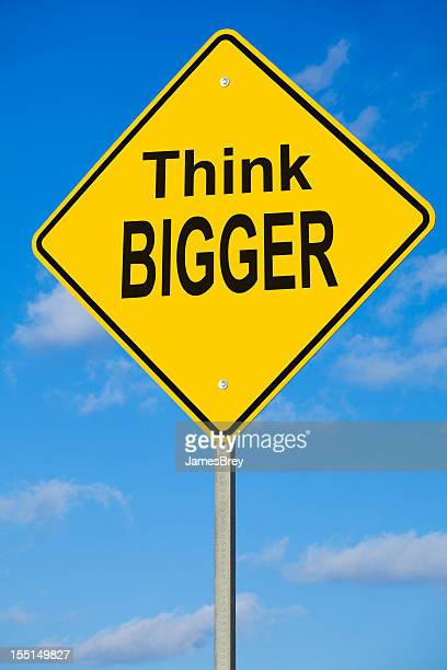 think bigger road sign - give way stock pictures, royalty-free photos & images