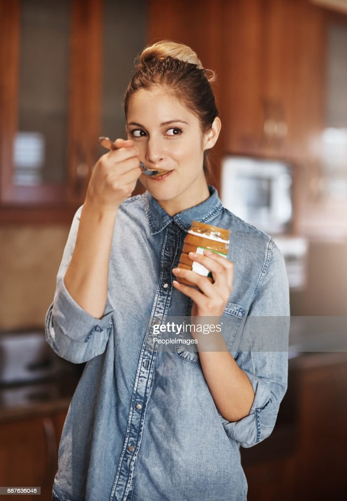 I think I'm addicted to peanut butter : Stock Photo