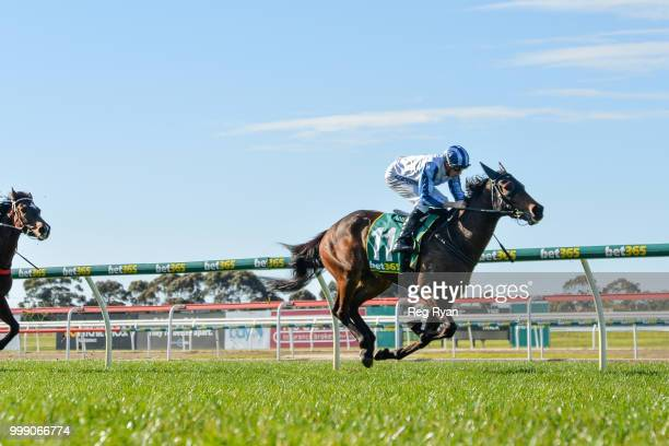 Aerospeed after winning the Hodges Real Estate BM64 Handicap at Geelong Racecourse on July 15 2018 in Geelong Australia