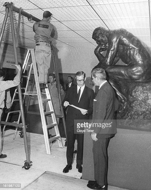 OCT 20 1967 OCT 22 1967 'Thinker' to Tour State Bob Baker left vice president of Columbia Savings and Loan Association and Lt Gov Mark Hogan discuss...