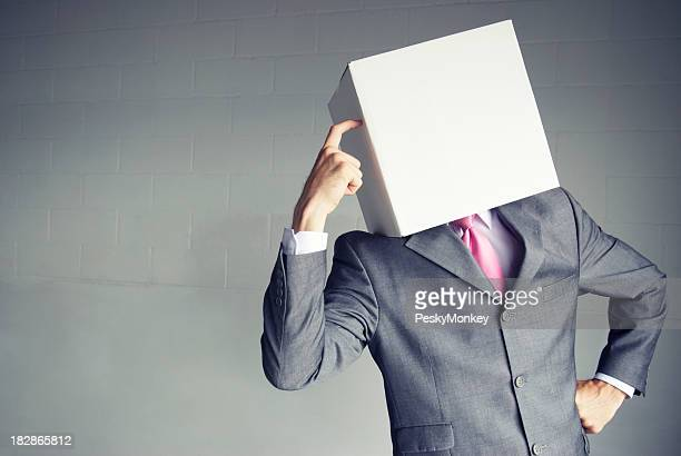 Thinking Box Head Businessman Scratching His Forehead