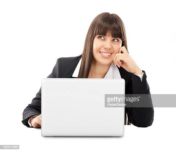 Denken Geschäftsfrau mit laptop