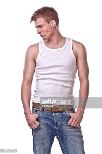 thinking man - tank top stock photos and pictures