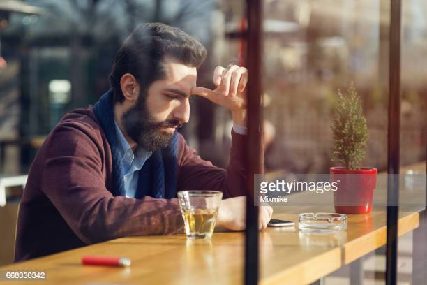 Thinking over with a cigarette and a drink