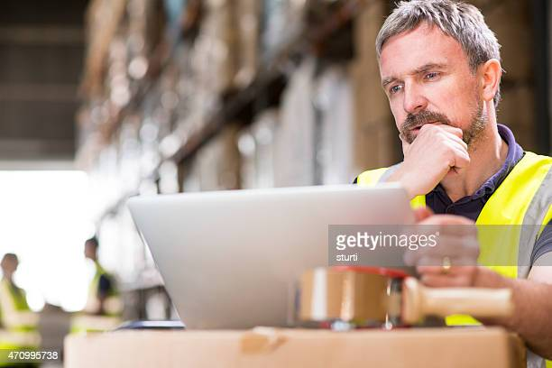 thinking warehouse manager checking deliveries on his laptop
