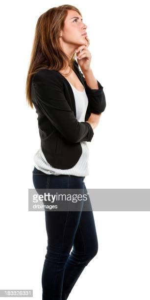 Penser jeune femme, vue de côté, trois-quarts