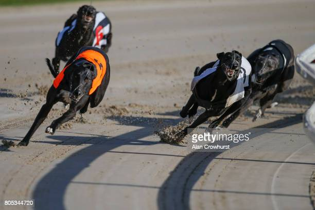 Thinkingofdarcy wins The Star Sports British Breds Final at Towcester greyhound track on July 1 2017 in Towcester England