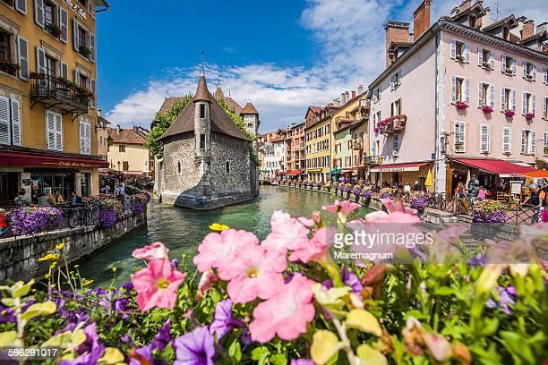 Thiou river, Palais (palace) de l'Ile and flowers