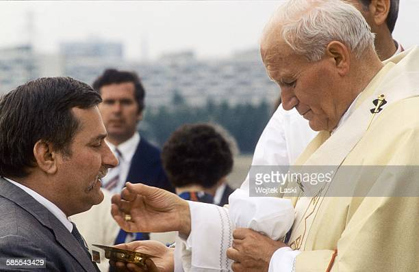 Third apostolic journey of Pope John Paul II to Poland Holy mass for the workers at Zaspa district in Gdansk Poland on 12th June 1987 Pictured Pope...