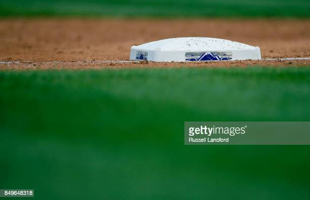 Third base bag with a Rockies logo during a regular season MLB game between the Colorado Rockies and the visiting San Diego Padres at Coors Field on...