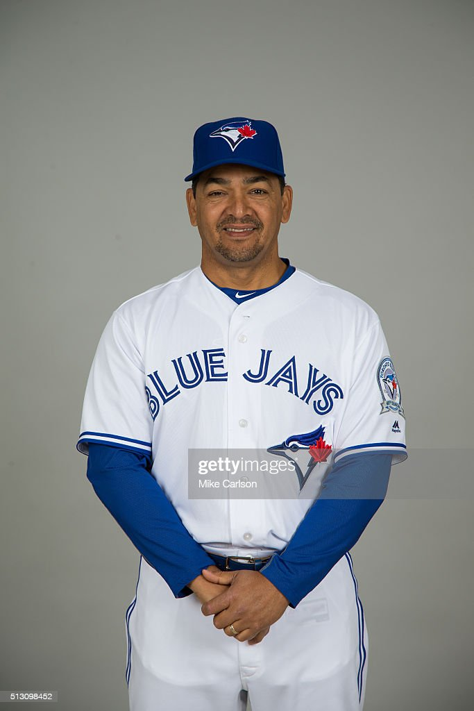 Third base coach Luis Rivera #4 of the Toronto Blue Jays poses during Photo Day on Saturday, February 27, 2016 at Florida Auto Exchange Stadium in Dunedin, Florida.
