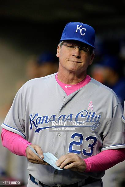 Third base coach Mike Jirschele of the Kansas City Royals before their game against the Detroit Tigers at Comerica Park on May 10 2015 in Detroit...