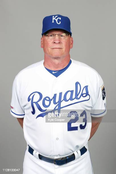 Third Base Coach Mike Jirschele of the Kansas City Royals poses during Photo Day on Thursday February 21 2019 at Surprise Stadium in Surprise Arizona