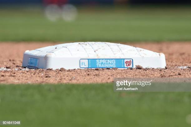 Third base displaying the Washington Nationals and spring training logo's during action against the Atlanta Braves during a spring training game at...