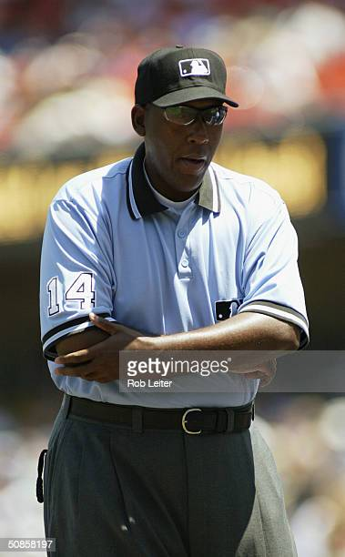 Third base umpire Chuck Meriwether is on the field for the game between the Los Angeles Dodgers and the Montreal Expos at Dodger Stadium on May 2...
