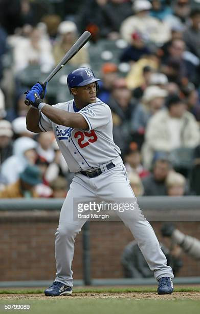 Third baseman Adrian Beltre of the Los Angeles Dodgers bats during the game against the San Francisco Giants at SBC Park on April 18 2004 in San...