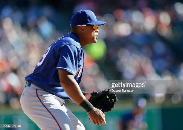 Third baseman Adrian Beltre of the Texas Rangers during a game against the Detroit Tigers at Comerica Park on July 7 2018 in Detroit Michigan