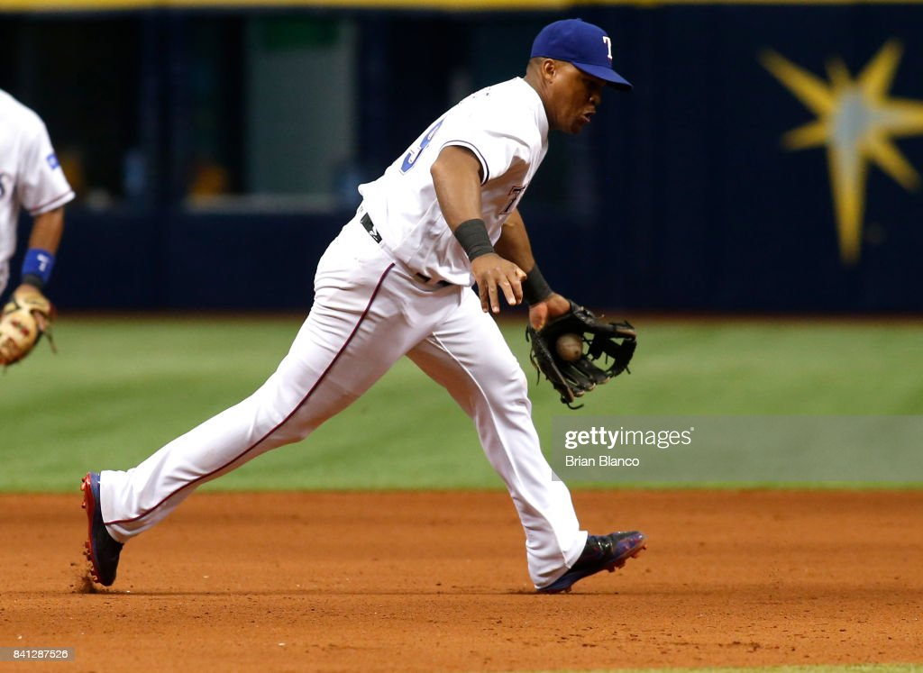 Third baseman Adrian Beltre #29 of the Texas Rangers fields the single by J.D. Davis of the Houston Astros during the seventh inning of a game on August 31, 2017 at Tropicana Field in St. Petersburg, Florida.