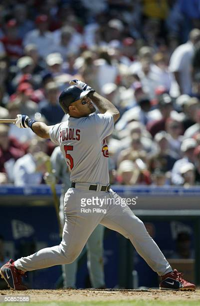 Third baseman Albert Pujols of the St Louis Cardinals at bat during the game against the Philadelphia Phillies at Citizens Bank Park on May 6 2004 in...