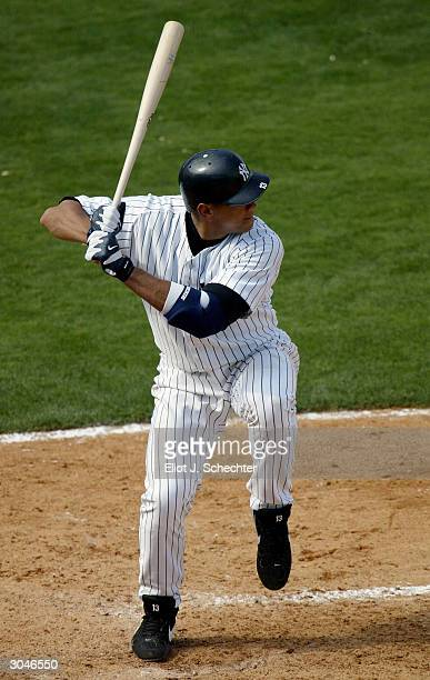 Third baseman Alex Rodriguez of the New York Yankees at bat against the Philadelphia Phillies during Spring Training March 5 2004 at Legends Field in...