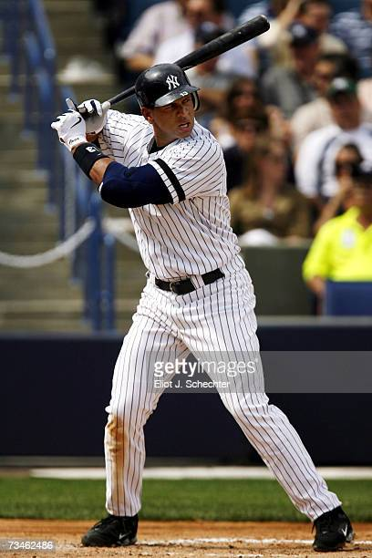 Third baseman Alex Rodriguez of the New York Yankees at bat against the Minnesota Twins during a Spring Training game on March 1, 2007 at Legends...