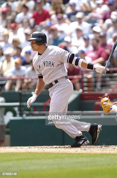 Third baseman Alex Rodriguez of the New York Yankees bats during the game against the Texas Rangers at Ameriquest Field in Arlington on May 7 2006 in...