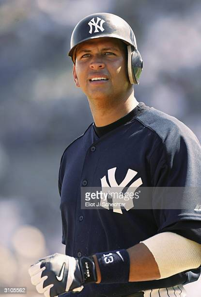 Third baseman Alex Rodriguez of the New York Yankees during the Spring Training game against the Toronto Blue Jays on March 6, 2004 at Legends Field...